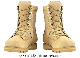 Military boots, front view