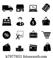 shoppen, symbol, satz