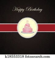 Vector Birthday cake in invitation card