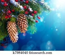 Art snowy Christmas tree