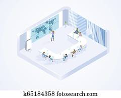 Business Team Working in Office Isometric Vector