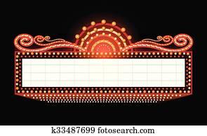 hell, theater, glühen, früher, kino, neon zeichen