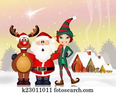 Santa Claus, reindeer and elf