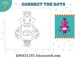 verbinden punkte, kinderspiel, vektor, illustration., vorschulisch, kindern, erzieherisch, aktivit?t