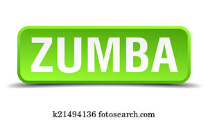 Zumba green 3d realistic square isolated button