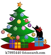 Christmas Tree with Presents Ornaments and Cat
