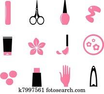 manicure,, kosmetikartikel, und, schoenheit, heiligenbilder, isolieren, wei?, (, pink,, bl