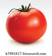 Red tomato with drops