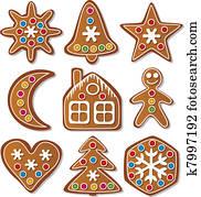 set of gingerbread cookies
