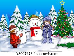 Children and Snowman