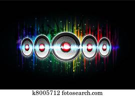 Loud Speaker on Musical Background