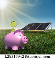 save money- solar panel with piggy bank