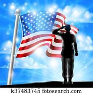 amerikaflagge, und, silhouette, soldat, salutieren