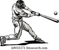Baseball Batter Hitting Pitch Vecto