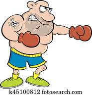 Cartoon boxer punching.