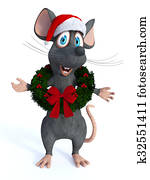 Cartoon mouse wearing Christmas wreath.