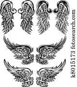 engelsflügel, vektor, abbildungen