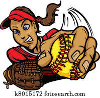 Fast Pitch Softball Pitcher Cartoon