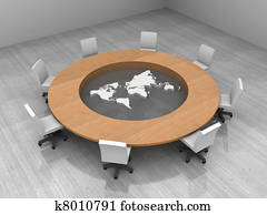 illustration of a conference room with a round table and world map