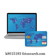 laptop computer and banking card