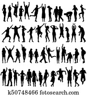Silhouettes of women and men