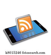 smart phone and RSS icon