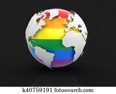 3d Globe with Gay Pride color