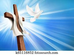 Concept crucifixion and resurrection. Christian cross illustration with dove. Life after death