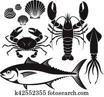 meeresfrüchte, silhouette, set., hummer, prawn,, crab,, thunfisch, fish,, schaltier, und, squid., vektor, illustrations.