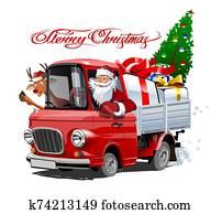 weihnachtskarte, mit, karikatur, früher, weihnachten, lastwagen