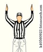 American football referee with both hands up as a touchdown vector