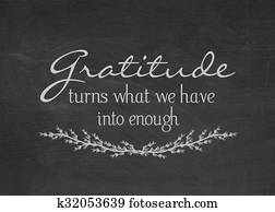 gratitude quote on blackboard