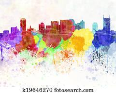Nashville skyline in watercolor background