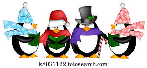 Penguins Singing Christmas Carol Cartoon Clipart