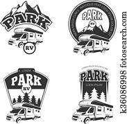 RV and campers vector emblems, labels, badges, logos set