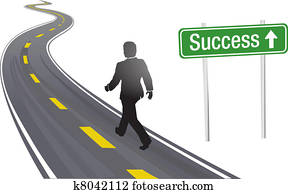 Business man walk road sign to Success