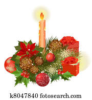 Designer Christmas gifts and a bouquet of flowers with