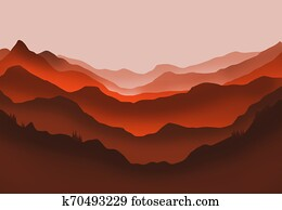 Digital illustration of mountains and trees in red glow