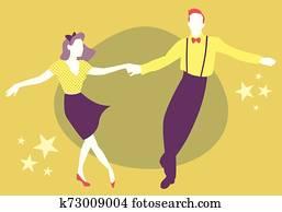 junges tanzen, swing,, gestein, oder, lindy, huepfen