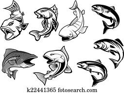 karikatur, salmons, fische, satz