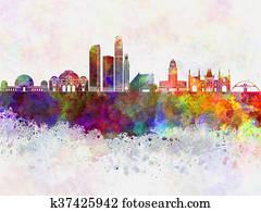 Los Angeles skyline in wb
