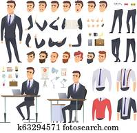 Manager creation kit. Businessman office person arms hands clothes and items vector male character animation project