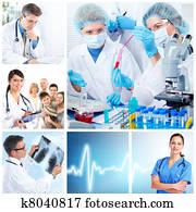 medizinische, doktoren, in, a, laboratory., collage.