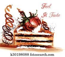 Clipart Schön Vektor Abbildung Mit Hand Malen Stück Kuchen