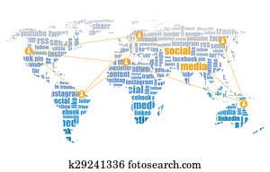 social media graphic world map