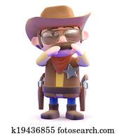 3d Shouting cowboy