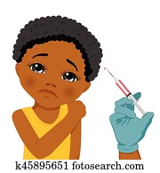 African american sad little girl getting a vaccine administration