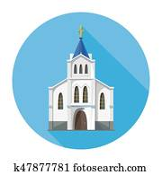 Church icon isolated on white background.