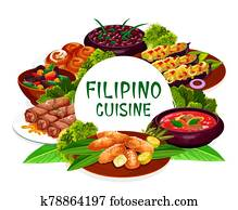 Filipino cuisine dishes round frame