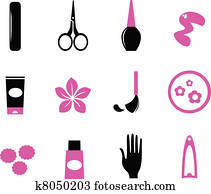 Manicure icons isolated on white ( wild pink & black )